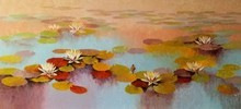 Nature Oil Art Painting title Waterlilies 1 by artist Swati Kale
