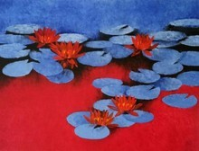 Nature Oil Art Painting title Waterlilies 3 by artist Swati Kale
