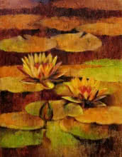 Swati Kale | Oil Painting title Waterlilies 94 on Canvas | Artist Swati Kale Gallery | ArtZolo.com