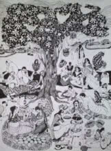 Picnic | Drawing by artist Fatema Lodhger |  | pen | Paper