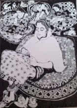 Figurative Pen Art Drawing title The Boss by artist Fatema Lodhger