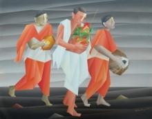 Figurative Acrylic Art Painting title 'Purna Kalash Yatra' by artist Nirakar Chowdhury