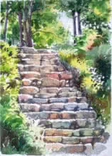 Landscape Watercolor Art Painting title Steps by artist Gaurishankar Behera