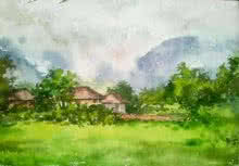 Monsoon | Painting by artist Gaurishankar Behera | watercolor | Paper
