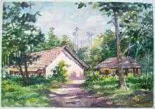 Gaurishankar Behera | Watercolor Painting title Hut on Paper | Artist Gaurishankar Behera Gallery | ArtZolo.com