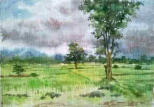 Gaurishankar Behera | Watercolor Painting title Monsoon on Paper | Artist Gaurishankar Behera Gallery | ArtZolo.com