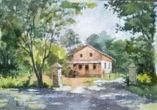 Landscape Watercolor Art Painting title Farmhouse by artist Gaurishankar Behera