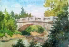 Landscape Watercolor Art Painting title The bridge by artist Gaurishankar Behera