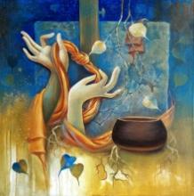 Religious Acrylic Art Painting title 'Buddha 7' by artist Sanjay Lokhande