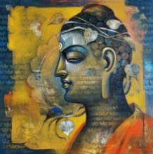 Religious Acrylic Art Painting title Buddha 8 by artist Sanjay Lokhande