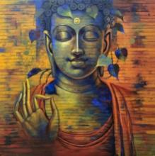 Religious Acrylic Art Painting title Buddha 9 by artist Sanjay Lokhande