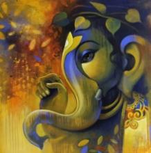 Religious Acrylic Art Painting title 'Ganesha' by artist Sanjay Lokhande