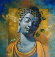 Religious Acrylic Art Painting title 'Gautama Buddha' by artist Sanjay Lokhande