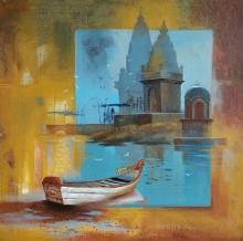 Landscape Acrylic Art Painting title Landscape by artist Sanjay Lokhande
