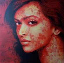 Pop Art Acrylic Art Painting title 'The Lady 3' by artist Sujit Karmakar