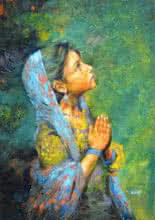 Figurative Acrylic Art Painting title 'Aastha' by artist Milind Varangaonkar