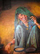 Indian Lady I | Painting by artist Milind Varangaonkar | mixed-media | Canvas