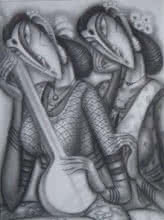 Figurative Charcoal Art Painting title Musicians by artist Ramesh Pachpande