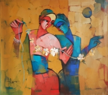 Figurative Acrylic Art Painting title Divine Couple 1 by artist Deepa Vedpathak