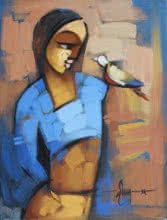 Figurative Acrylic Art Painting title Myself 4 by artist Deepa Vedpathak