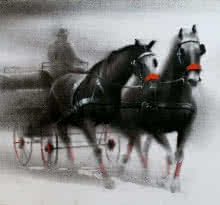 Animals Charcoal Art Painting title 'Horse Carriage 1' by artist Ganesh Hire
