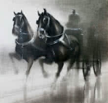 Animals Charcoal Art Painting title 'Horse Carriage 3' by artist Ganesh Hire