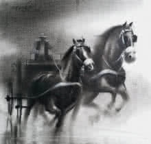 Animals Charcoal Art Painting title Horse Carriage 4 by artist Ganesh Hire
