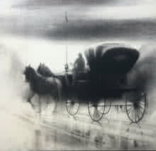 Ganesh Hire | Charcoal Painting title Horse Carriage 8 on Paper | Artist Ganesh Hire Gallery | ArtZolo.com