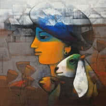 Figurative Acrylic Art Painting title 'Village Boy' by artist Sachin Akalekar