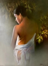 Figurative Acrylic-oil Art Painting title 'Wet Lady 2' by artist Amit Bhar