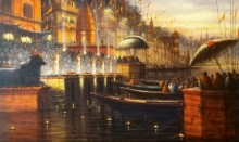 Religious Acrylic Art Painting title 'Varanasi 10' by artist Paramesh Paul