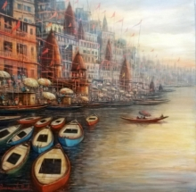 Religious Acrylic Art Painting title 'Varanasi 11' by artist Paramesh Paul