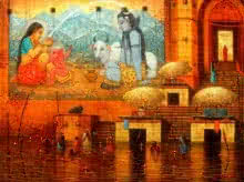 Varanasi 4 | Painting by artist Paramesh Paul | acrylic | Canvas