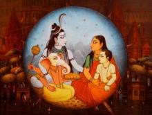Religious Acrylic Art Painting title 'Varanasi 7' by artist Paramesh Paul