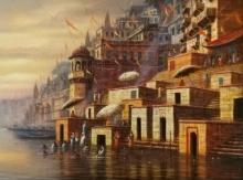 Religious Acrylic Art Painting title 'Varanasi 9' by artist Paramesh Paul