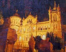 Golden Cst | Painting by artist Mukhtar Kazi | acrylic | Canvas