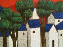 Nagesh Ghodke Paintings | Acrylic Painting - Village 14 by artist Nagesh Ghodke | ArtZolo.com