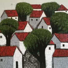Nagesh Ghodke Paintings | Acrylic Painting - Village 13 by artist Nagesh Ghodke | ArtZolo.com
