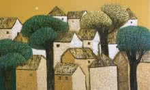 Nagesh Ghodke Paintings | Acrylic Painting - Village 11 by artist Nagesh Ghodke | ArtZolo.com