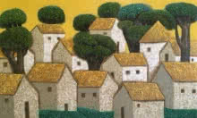 Nagesh Ghodke Paintings | Acrylic Painting - Village 16 by artist Nagesh Ghodke | ArtZolo.com