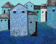 Village 50 | Painting by artist Nagesh Ghodke | acrylic | Canvas