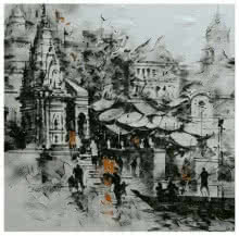 Sandeep Chhatraband | Acrylic Painting title Banaras Ghat Black And White on Canvas | Artist Sandeep Chhatraband Gallery | ArtZolo.com