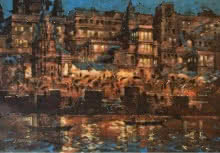 Sandeep Chhatraband | Acrylic Painting title Banaras Ghat At Night on Canvas | Artist Sandeep Chhatraband Gallery | ArtZolo.com