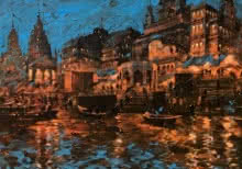 Sandeep Chhatraband | Acrylic Painting title Banaras Ghat In The Evening on Canvas | Artist Sandeep Chhatraband Gallery | ArtZolo.com