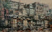 Banaras Ghat 38 | Painting by artist Sandeep Chhatraband | acrylic | Canvas