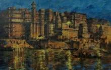 art, painting, banaras, ghat, varanasi, india, indian, pure, original