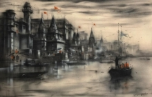 Sandeep Chhatraband | Acrylic Painting title Banaras Ghat 44 on Canvas | Artist Sandeep Chhatraband Gallery | ArtZolo.com