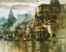 Cityscape Watercolor Art Painting title 'Banaras Ghat 55' by artist Sandeep Chhatraband