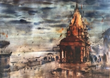 Cityscape Watercolor Art Painting title 'Banaras Ghat 56' by artist Sandeep Chhatraband