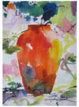 Nature Watercolor Art Painting title 'Vase Size' by artist Manas Biswas